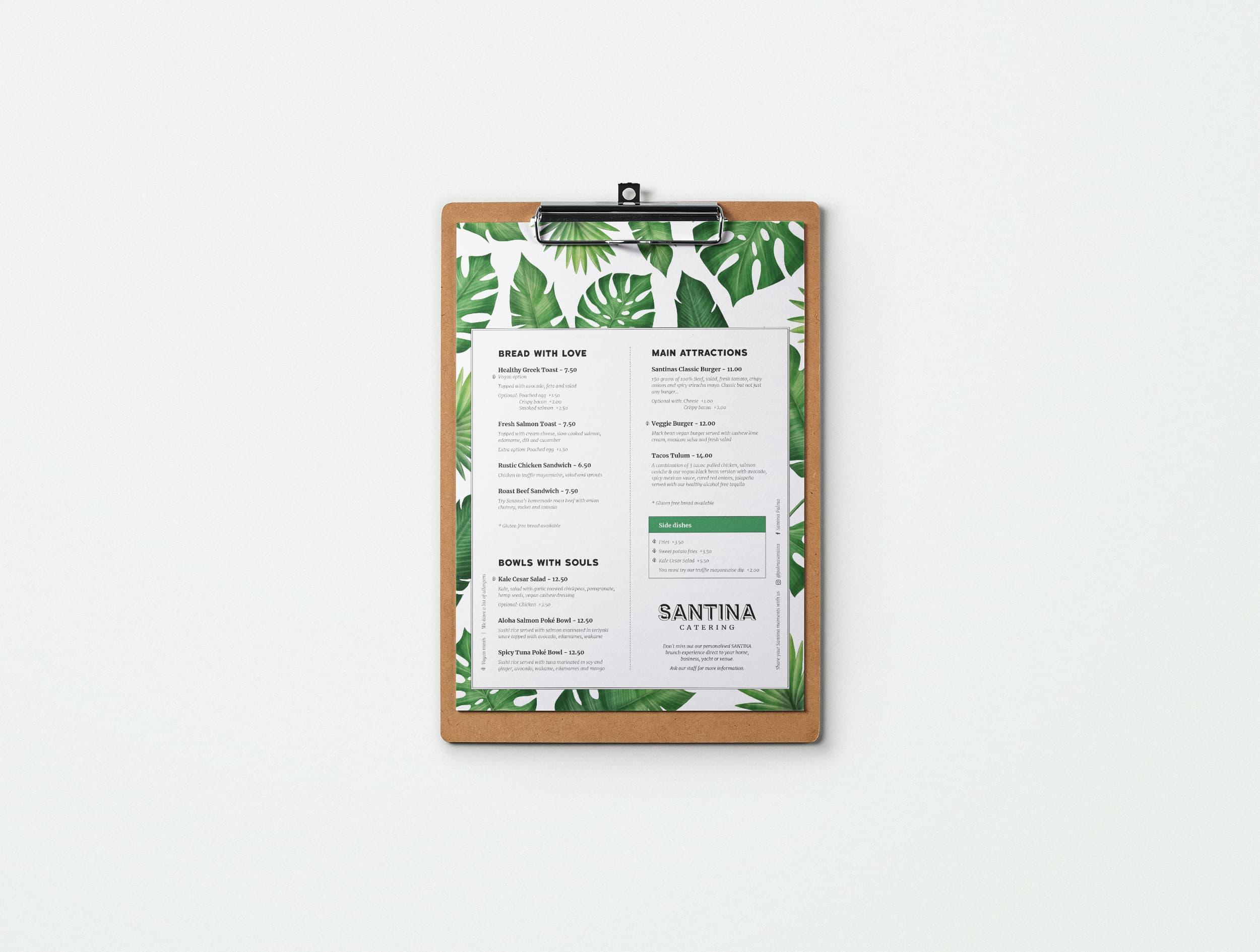 Diseño Carta Restaurante Brunch Santina en Mallorca - Àncar Studio