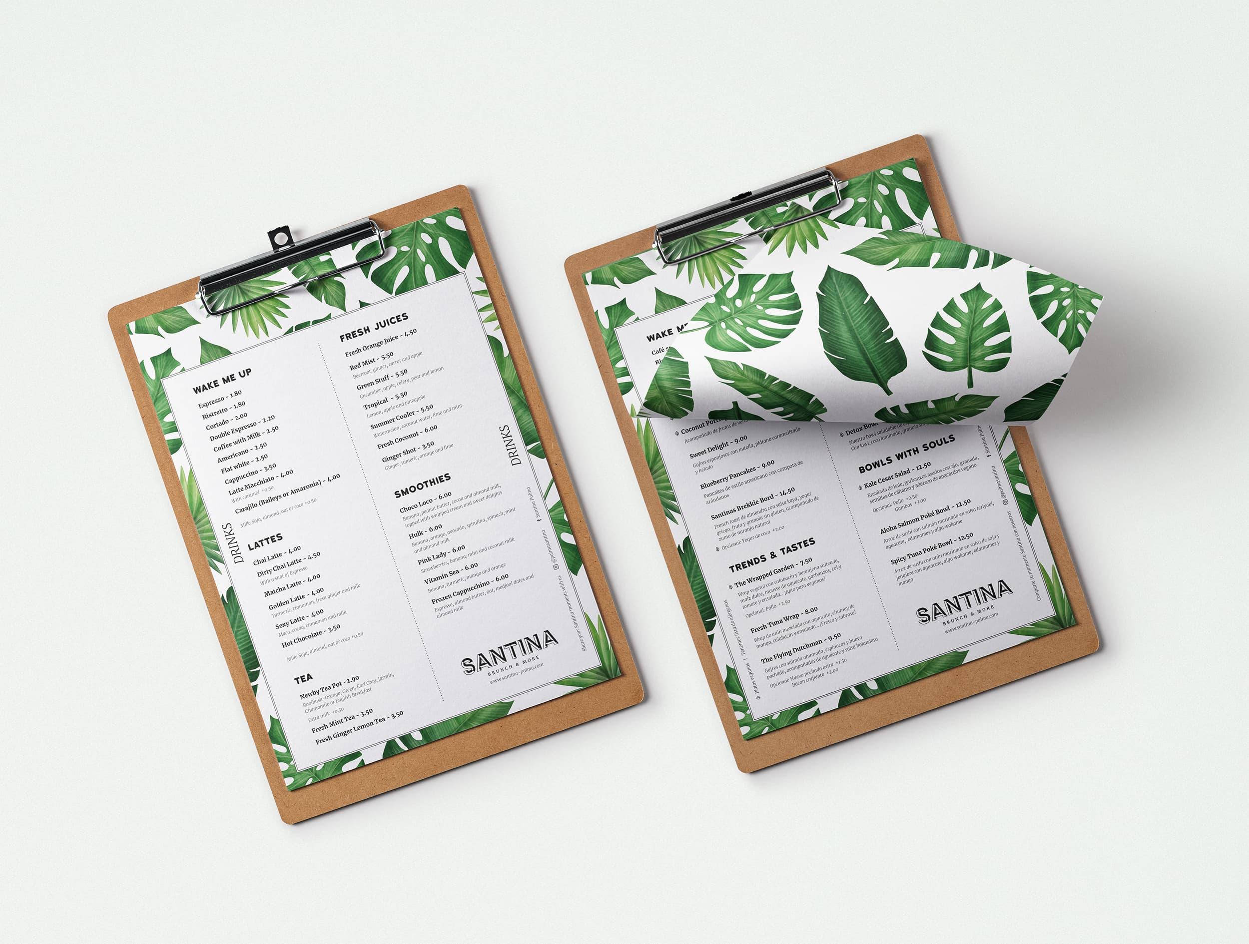 Diseño Carta Restaurante Santina en Mallorca - Àncar Studio
