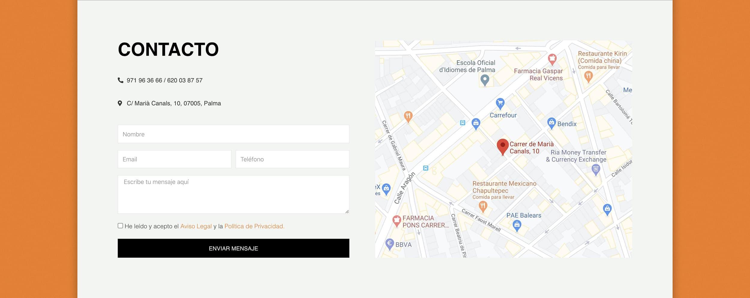 Diseño Web AP Técnica Mallorca - Àncar Studio - Contacto
