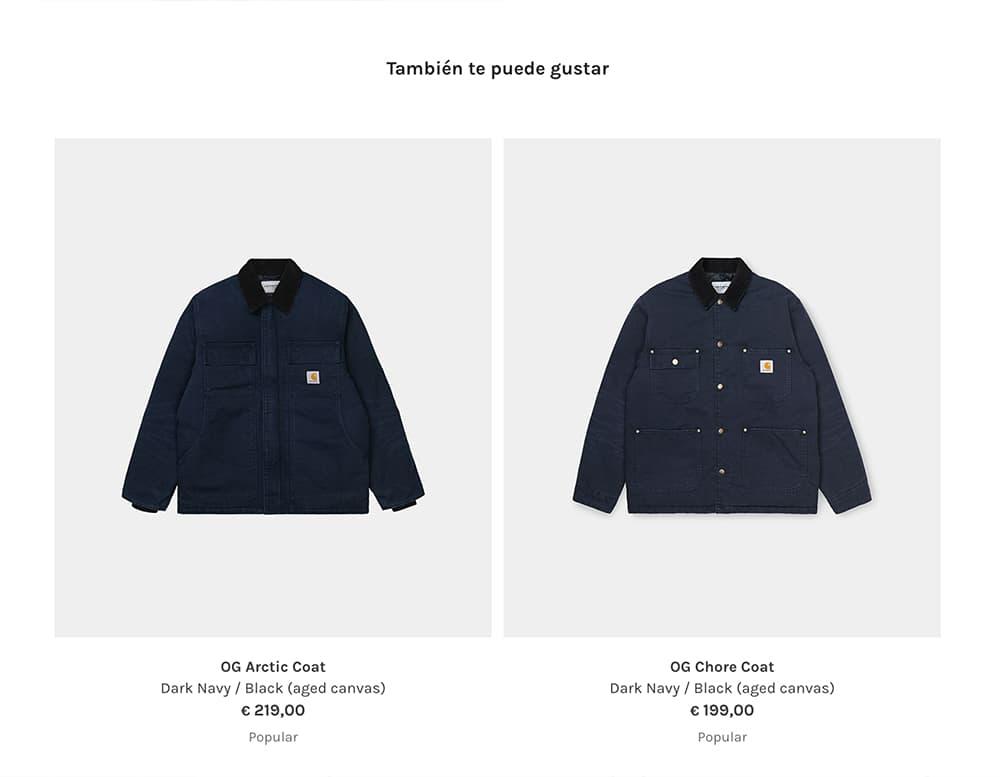 Ejemplo de up-selling en tienda online